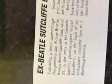 b1s ephemera music reprint article 1962 beatles death of stuart sutcliffe