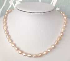 #cq21.   18 inches Genuine Peach Freshwater Pearl Necklace
