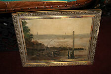 Antique Victorian Nautical Oil Painting-Boat Water Rock Trees-Signed FB McCarthy