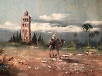 🔥 Antique Orientalism Impressionist Oil Painting, Camel Rider & Desert - DeVity