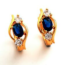 Vogue 24K Gold Filled Blue C.Z Stone Women's Hoop Earrings Gift Box Packing