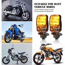 2X 6LED Motorcycle Mini Amber Turn Signal Lights Blinker Indicator Black 12V NEW