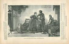 Patinage Patins à Glace Traîneau Frise Pays-Bas par Bisschop GRAVURE PRINT 1880