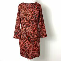 Topshop Brick Red Black Leopard Animal Print Fitted Flattering Pencil Dress 10UK