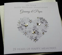 Personalised Handmade Silver /25th Wedding Anniversary Heart Card