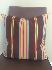 Decorative Pillow Cover Strips Patterns Brown Yellow Red, Blue