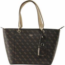 537b884d5c GUESS Kamryn Signature Brown Saffiano Leather Shoulder Tote Bag