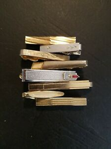 vtg tie bar lot mid century art deco Swank Foster Sterling gold silver tone