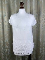 NEXT Women White Embroidered Short Sleeve Cotton Top Tshirt Size 10 Frilly
