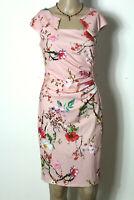Italy Kleid Gr. 36 rosa knielang Strech Party Kleid mit bunten Blumen Asia-Stil