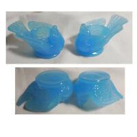 Set of 2 Blue Azure Glass Bird & Berry Open Salt Cellar Dip