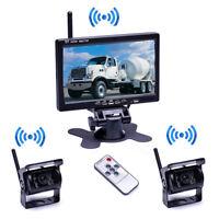 """2x Kabellos Rückseiten Kamera Kit 7"""" TFT Funk Monitor Rückfahrkamera Set Bus LKW"""