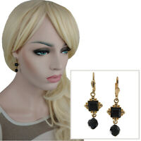 Black Gold Flat faceted Gem Beaded Gold Tone Leverback Earrings
