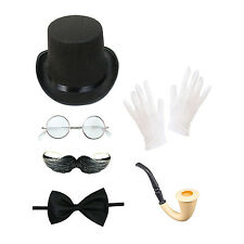 Men's Steampunk Set (Top Hat, Glasses, Moustache, Bow Tie, Gloves, Smoking Pipe)