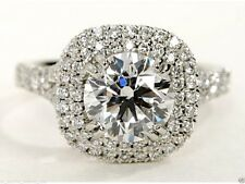 2.09 cts Round Brilliant Solitaire Diamond Engagement Ring Solid 14kt White Gold