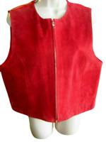 Suede Leather Vest Marsh Landing Women's Size PL Full Zipper Front Satin Back