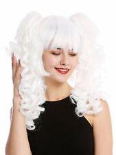 Wig Ladies Cosplay 3-teilig Bob + Long Removable Braids Spiral Curls White