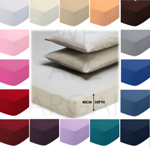 Extra Deep 40CM Fitted Bed Sheet 100% Poly Cotton Single Double King Sheets