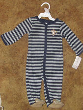 Boys Carter's NWT long sleeved gray with navy stripe terry monkey pjs size 6mos