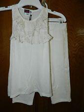 BELLA MAE girls 2-pc Ivory Lace Trim Top Ponte Jegging Capri Pants OUTFIT* 10