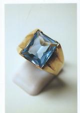 10ct LADIES GENTS HERREN GOLD RING SET LARGE BLUE TOPAZ SIZE R US 9 4.9 GMS