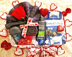 Valentine's Men Boyfriend Dove Bath Body Spa Blueberries Chocolate Gift Basket