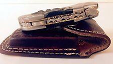 Fighting Gamecocks Pocket Knife Damascus Steel Blade Ram Horn Handle AT-1262