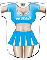76dfabdc466f0 Womens Adult Blue Cheerleader Go Team Swimsuit Bikini Cover Up Costume T- Shirt