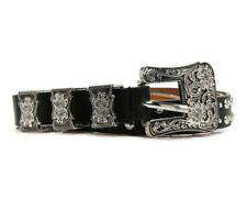 Studded Double Buckle Casual Faux Leather Skinny Black Silver Belt Only Size