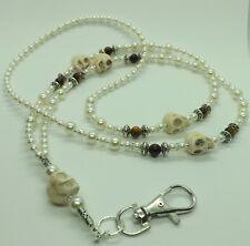 Unique Perle di Vetro Perla BIANCA TESCHIO OCCHIO di TIGRE Pietre Preziose CORDINO ID Badge Holder