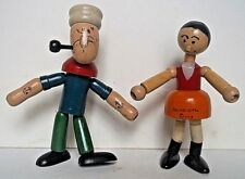 "Vintage 1930's JAYMAR POPEYE & OLIVE OIL WOOD JOINTED FIGURES 5"" & 4.25"""