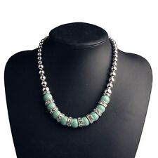Elegant Women Vintage Blue Turquoise Beads Necklace Silver Plated Jewelry