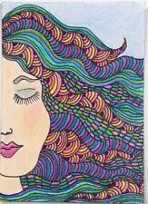 SEArts Funky ACEO ORIGINAL Vivid Colors Abstract Zentangle Girl Woman Lady
