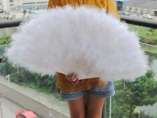 32*16inch Large Burlesque Feather Fan Turkey Marabou Feather Fan White