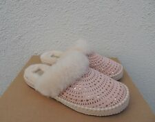 UGG AIRA SUNSHINE PERF TROPICAL PEACH SUEDE SHEEPSKIN SLIPPERS, US 10/ 41 ~NIB