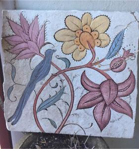 Rustic 53cm CONCRETE WALL ART Flowers & Bluebird Garden Plaque - Ready To Hang
