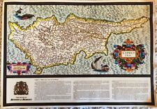 """VINTAGE BENSON & HEDGES CYPRUS MAP """"A BIRD'S EYE VIEW OF ITS HISTORY"""""""