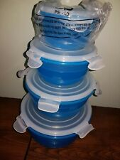 4 X Lock & Lock Round Food Containers - BLUE & WHITE - NEW