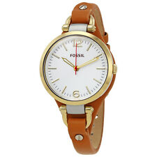 Fossil Georgia White Dial Brown Leather Ladies Watch ES3565-AU