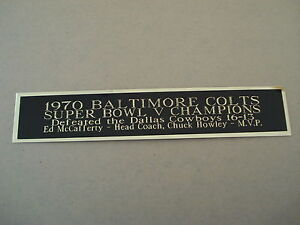 Baltimore Colts Super Bowl 5 Nameplate For A Football Mini Helmet Case 1.5 X 6