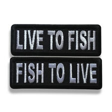 "Embroidered 3"" Live To Fish, Fish To Live Sew or Iron on Patch Fishing Patch Set"