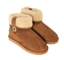 Brakeburn Women's Fur Top Button Boot Slippers Tan