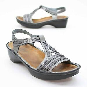 NAOT Ladies 10-10.5 (41) Metallic Silver Slingback Hook Loop Sandals Heels