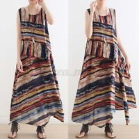 ZAZNEA UK Women Sleeveless O Neck Striped Dress Casual Loose Kaftan Maxi Dresses