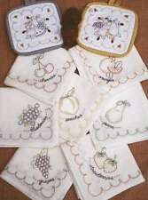 VINTAGE FRUIT DISHTOWEL & POTHOLDER EMBROIDERY PATTERNS, From Bareroots Patterns