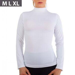 Women Long Sleeve Mock Neck Shirt Stretch Turtleneck Top Slim Fit Plus size M-XL