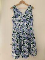 Ladies Dress Tu 12 Blue Floral Sleeveless Casual Cotton <JS910