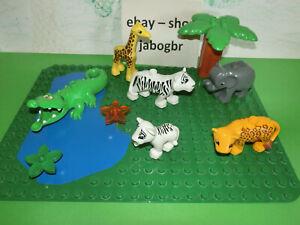 (HK / 305 ) LEGO Duplo Zoo / Safari SET Platte Tiere Krokodil Tiger weiß Elefant