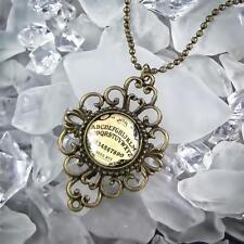 Ouija Spirit Ghost Board Antique Bronze Glass Gothic Occult Filigree Necklace