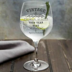 Personalised Vintage Birthday Copa Gin Glass
